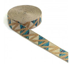 Ribbons Zig zag blue woven ribbon - 30 mm