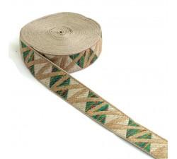 Ribbons Zig zag green woven ribbon - 30 mm