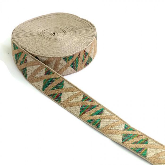 Zig zag green woven ribbon - 30 mm