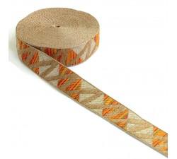Ribbons Zig zag orange woven ribbon - 30 mm