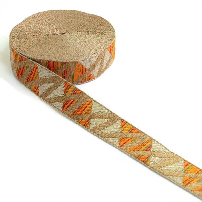 Zig zag orange woven ribbon - 30 mm