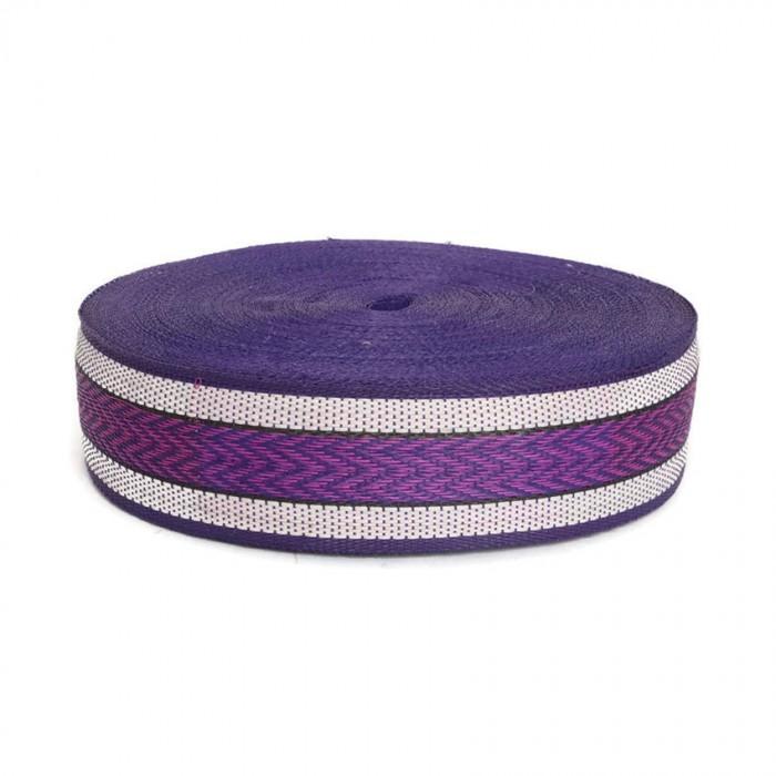 Sangle plastique recyclé violet - Chevron - 55 mm