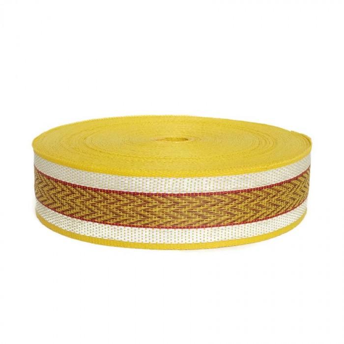 Cincha de plástico reciclado amarillo - Chevron - 55 mm