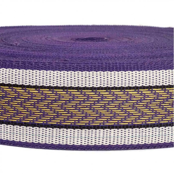 Recicled plastic purple strap - Chevron - 55 mm