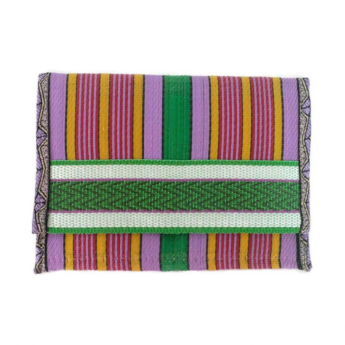 Recycled purple/green plastic wallet