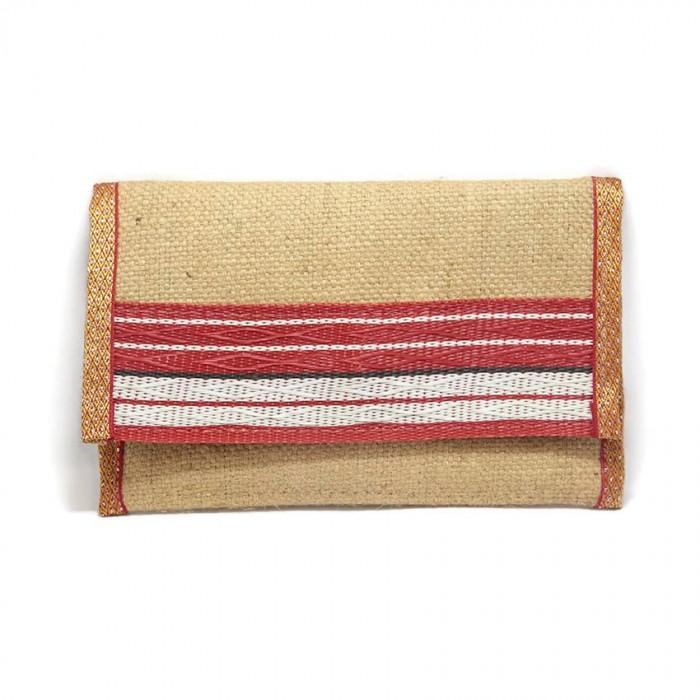 Porte-monnaie rouge en jute