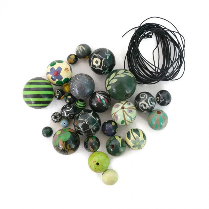 Black green Short round necklace kit