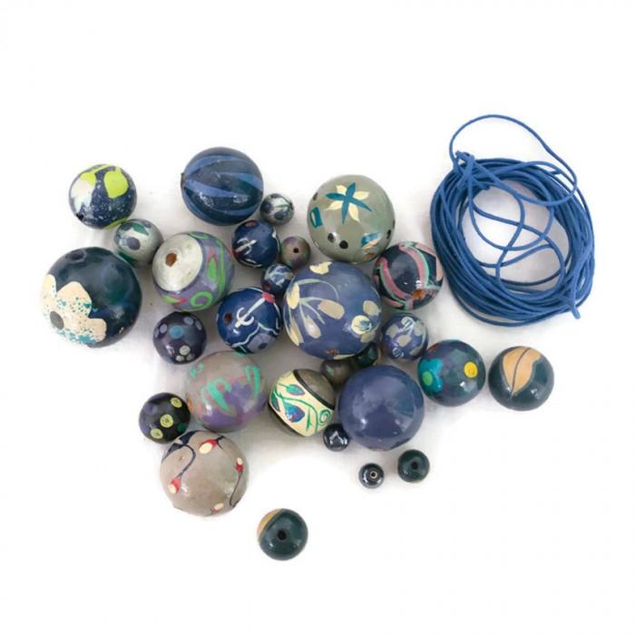 Blue Short round necklace kit