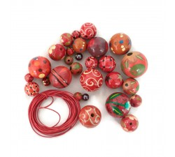"""Short round"" necklace kit Red Short round necklace kit Babachic by Moodywood"