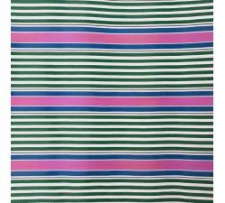 Plástico reciclado rayado Tissu plastique rayures rose, vert et bleu babachic