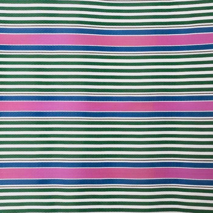 Tela de plástico con rayas rosa, verde y azul