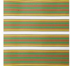 Tissu plastique rayures jaune, vert et rouge