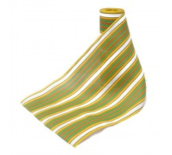 Plástico reciclado rayado Tela de plástico con rayas amarillo, verde y rojo babachic