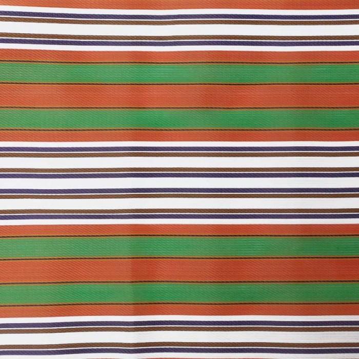 Tissu plastique rayures orange et vert