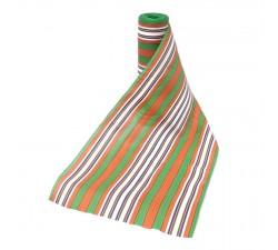 Striped recicled plastic Tissu plastique rayures orange et vert babachic