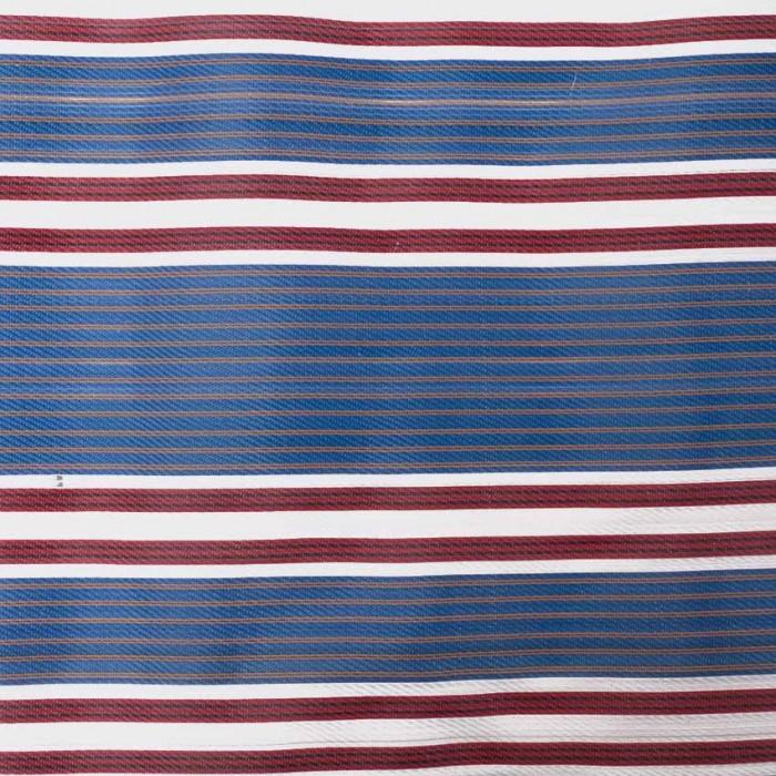 Tissu plastique rayures bleu et bordeaux