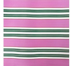 Tissu plastique rayures rose et vert