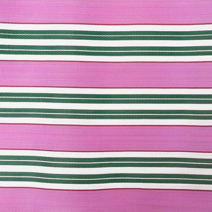 Tela de plástico con rayas rosa y verde