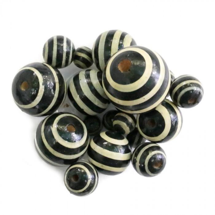 Perle en bois - Rayures - Noir et blanc