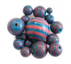 Stripes Wooden beads - Stipes - Pink and blue Babachic by Moodywood