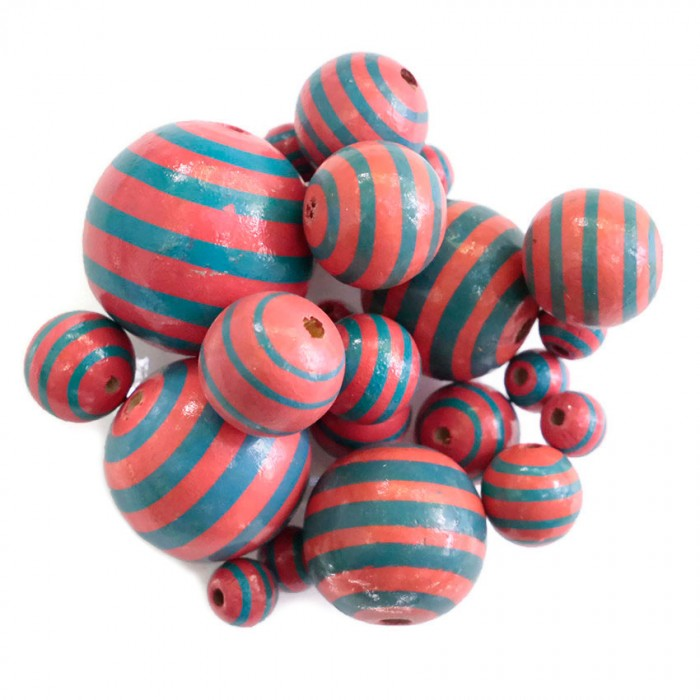 Wooden beads - Stipes - Pink and blue