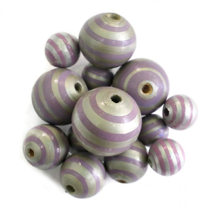 Wooden beads - Stipes - Silver and purple