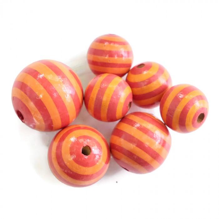 Perle en bois - Rayures - Orange