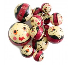 Faces Wooden beads - Doll - Dark magenta Babachic by Moodywood