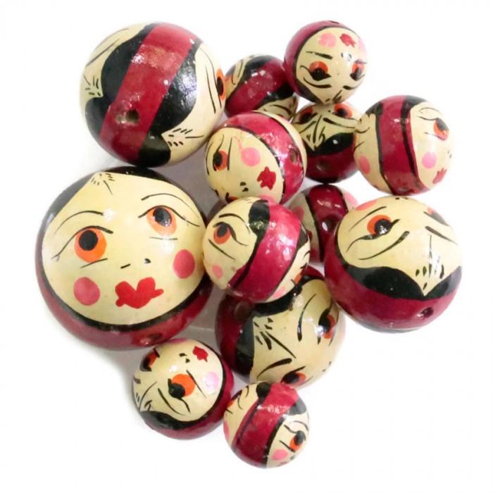 Perles en bois - Poupée - Pourpre