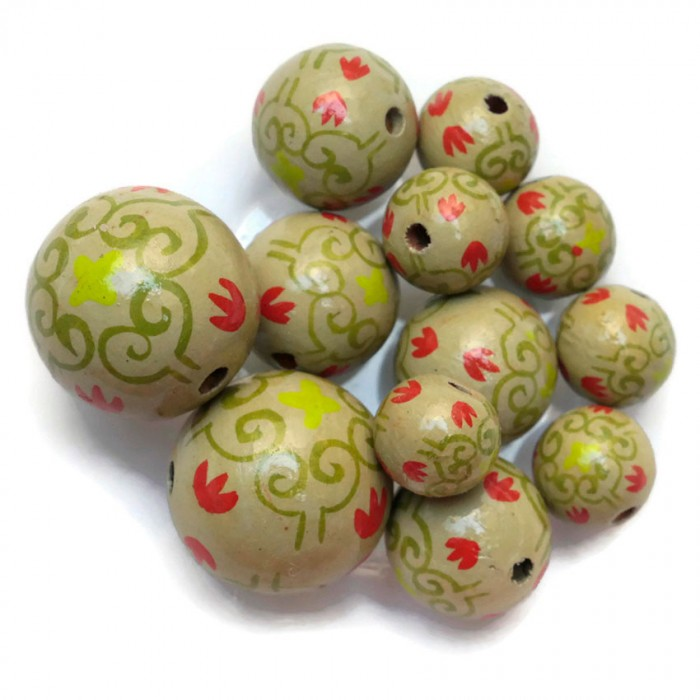 Royal wooden beads - Green