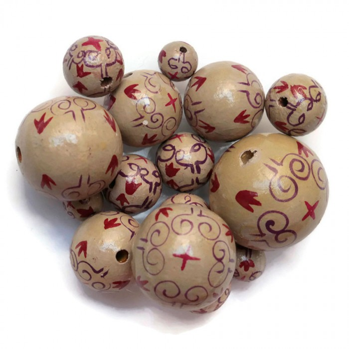 Royal wooden beads - Beige