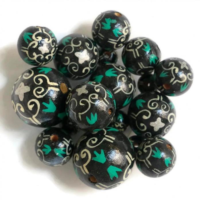 Perles en bois Royal - Noir et blanc