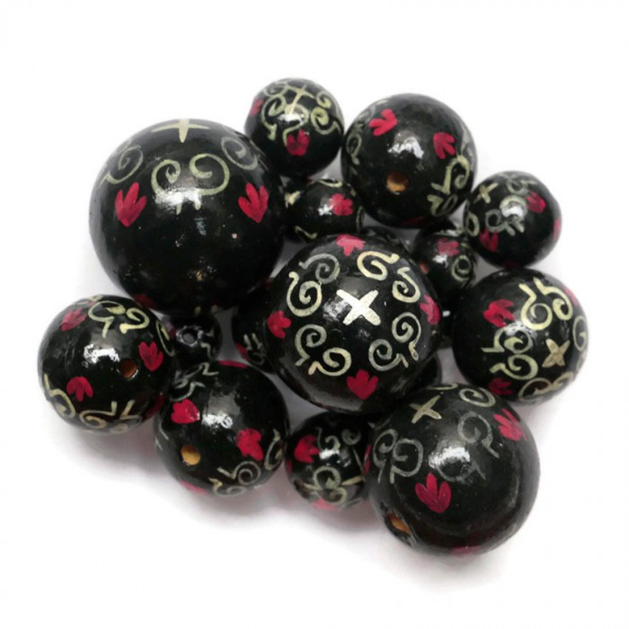 Royal wooden beads - Black and pink