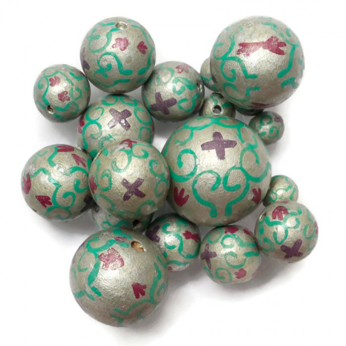 Royal wooden beads - Silver