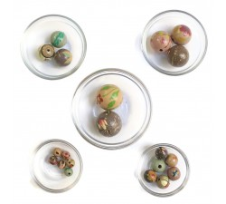 Assortment of wooden beads - Grey pink
