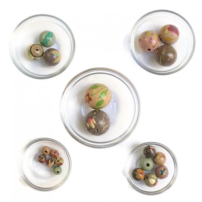 Assortiment de perles en bois - Gris rose