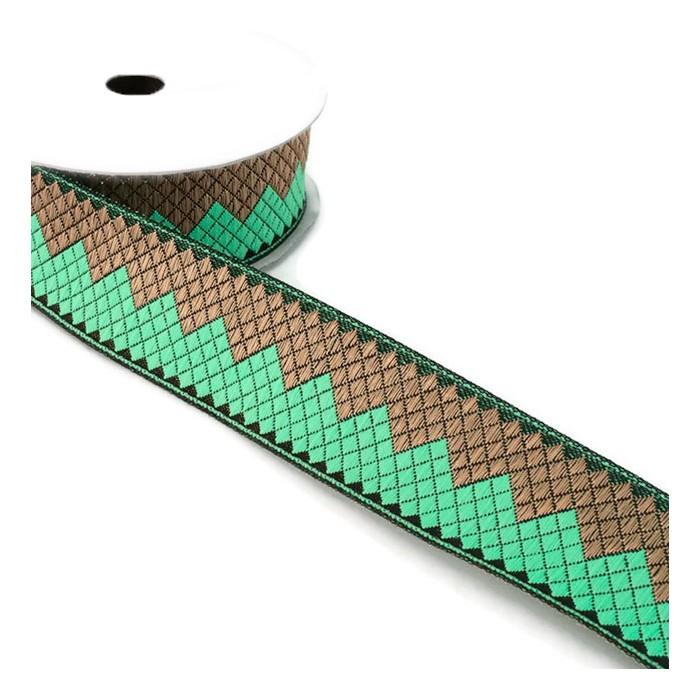 Afro ribbon - Green jade - 35 mm