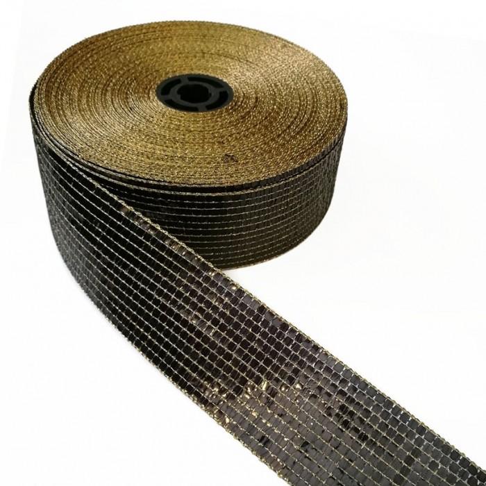 Glittered ribbon - Black - 40 mm