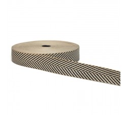 Ribbons Graphic ribbon - Chevrons - Black and white - 45 mm babachic