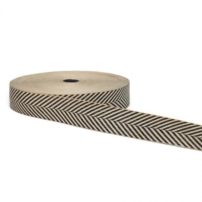 Ruban graphique - Chevrons - Noir et blanc - 45 mm