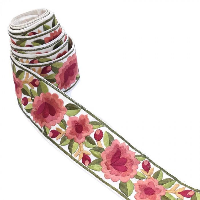Bordure Fleurie, fil de soie - Vieux rose - 55 mm
