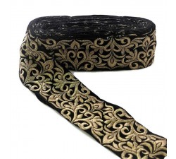 Ribbons Indian trimming - Imperial - Black and gold - 70 mm babachic
