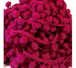 Les moyens Galon Pompons - Framboise - 25 mm babachic