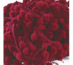The mediums Pompom braid - Burgundy - 25 mm babachic