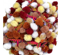 The big ones Pompom braid XL - Brown, beige, white, light yellow and burgundy - 45 mm babachic