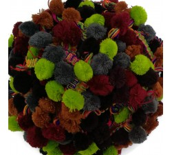 The big ones Pompom braid XL - Green, brown, grey and burgundy - 45 mm babachic