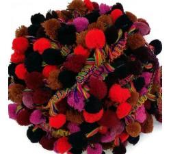 Los grandes Galón Pompones XL - Rojo, marrón , rosa, azul obscuro y burdeos - 45 mm babachic