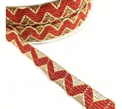 Ric Rac Red Rickrack braid style with golden lurex thread - 20 mm babachic