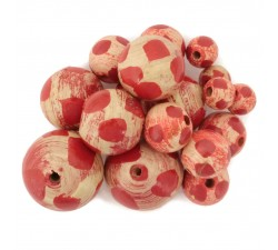 Moon Wooden beads - Moon - Beige and red Babachic by Moodywood