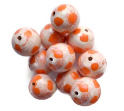 Moon Wooden beads - Moon - White and orange Babachic by Moodywood